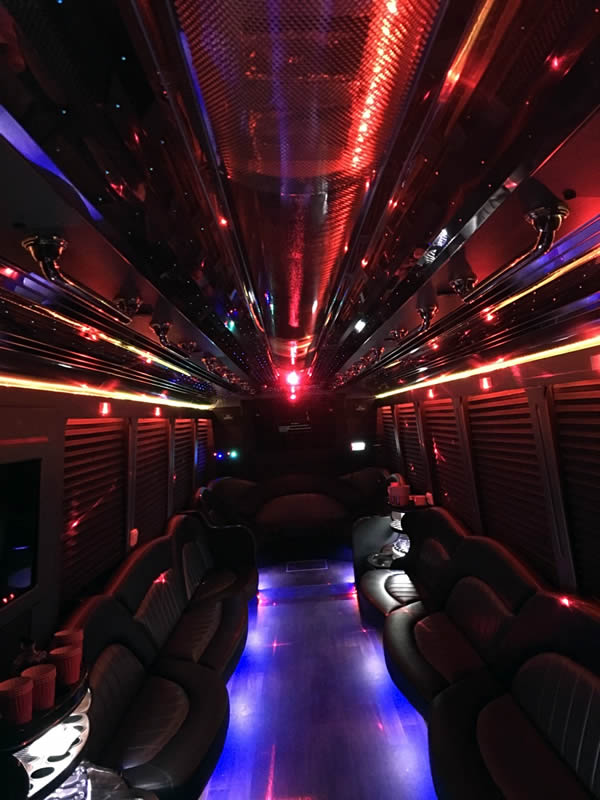 30 Passenger Party Bus inside
